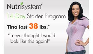 Nutrisystem 14-Day Starter Program. Tina lost 38 lbs.*