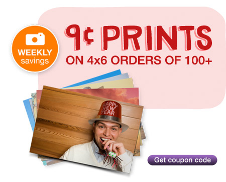 9 cent Prints on 4x6 Orders of 100+. Get coupon code.