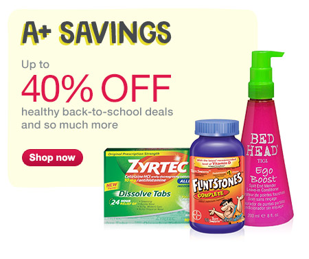 Up to 40% OFF healthy back-to-school deals and so much more. Shop now.