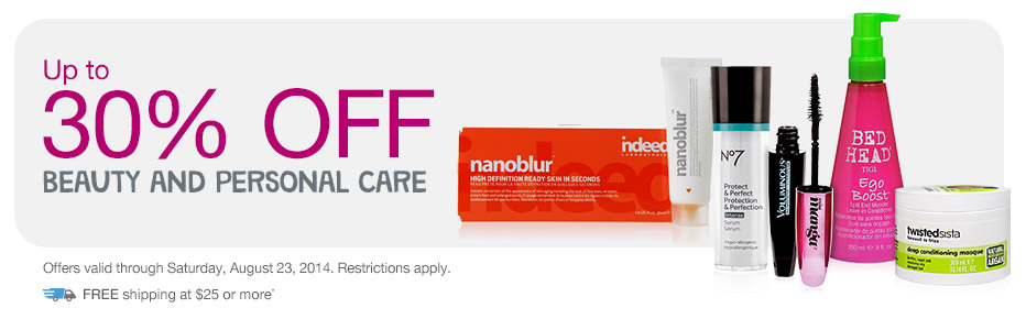 Up to 30% OFF Beauty and Personal Care.