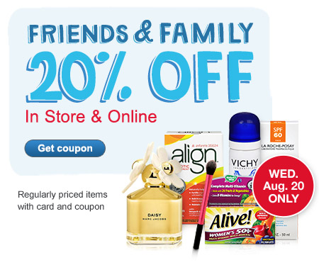 Friends & Family 20% OFF In Store & Online. 8/20 ONLY. Get coupon.