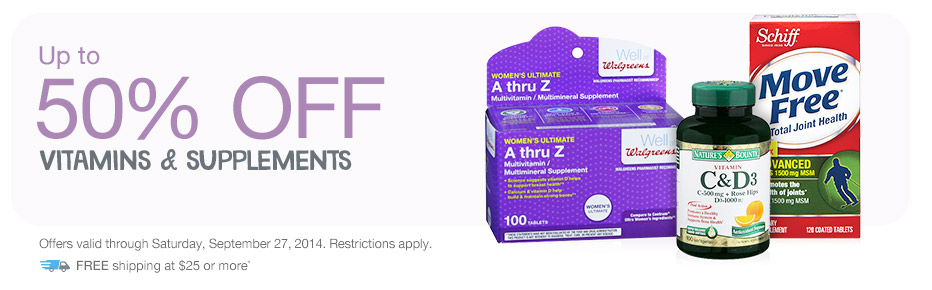 Up to 50% OFF Vitamins & Supplements. Valid thru 9/27. FREE shipping at $25+*