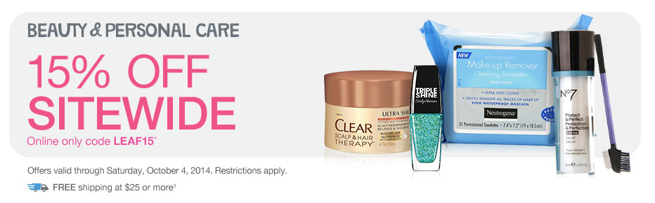 Beauty & Personal Care, 15% OFF Sitewide w/code LEAF15.* Valid thru 10/4. FREE shipping at $25+.(1)