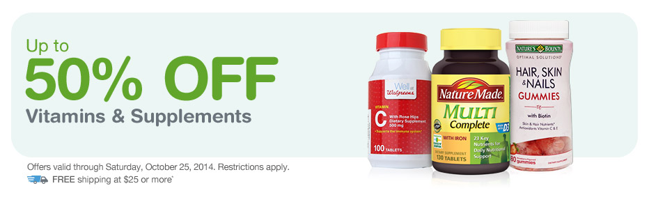 Up to 50% OFF Vitamins & Supplements. Valid thru 10/25. FREE Shipping at $25.*