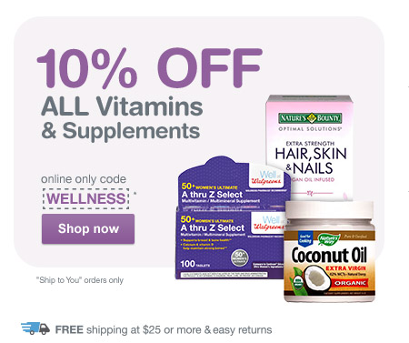 10% OFF ALL Vitamins & Supplements with code WELLNESS.* Free shipping at $25. Shop now.