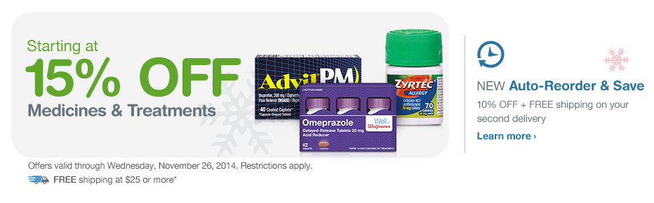 Starting at 15% OFF Medicines & Treatments thru 11/26. FREE Shipping at $25.* Auto-Reorder. Learn more.