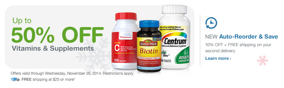 Up to 50% OFF Vitamins & Supplements. Valid thru 11/26. FREE Shipping at $25.* Auto-Reorder. Learn more.