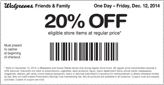 December 12, 2014 Family and Friends Coupons