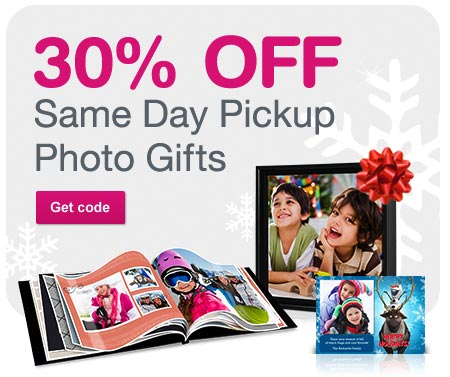30% OFF Same Day Pickup Photo Gifts. Get code.