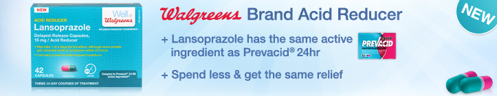 Walgreens Brand Acid Reducer. Lansoprazole has the same active ingredient as Prevacid 24hr.