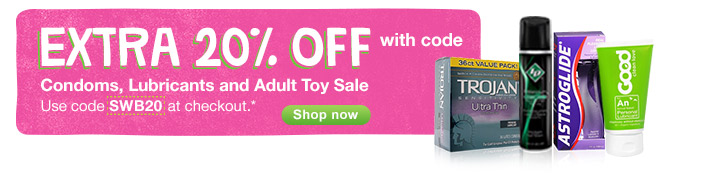 BCondoms, Lubricants & Adult Toy Sale. Extra 20% OFF with code SWB20.* Shop now.